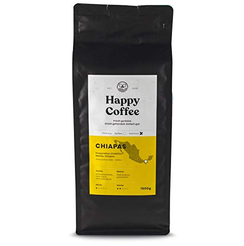 HAPPY COFFEE Bio Espressobohnen 1kg [Chiapas] I Frische...
