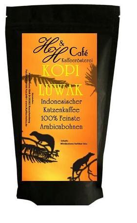 Katzenkaffee KOPI LUWAKvon frei lebenden Tieren PREMIUM 125g
