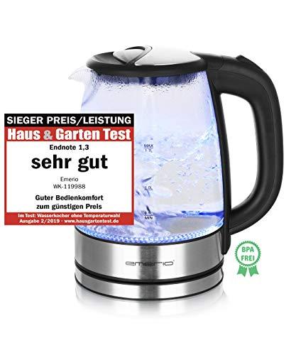 Emerio WK-119988 Glas Wasserkocher,1.7 Liter, 2200 Watt, LED...