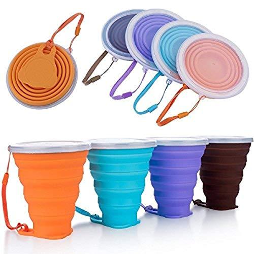 Blizim 4 Stück Faltbare Tasse Tragbare Becher Reise...