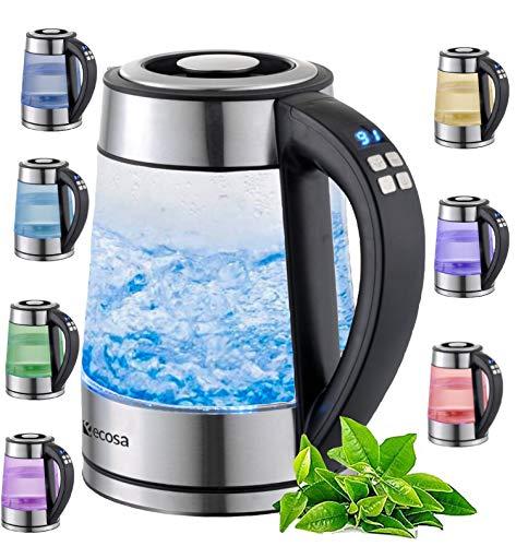 Glas Wasserkocher 1,7 Liter   2200 Watt   Edelstahl mit...