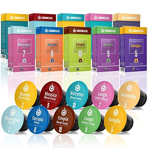 Gourmesso Testbox - 100 Nespresso kompatible Kaffeekapseln...