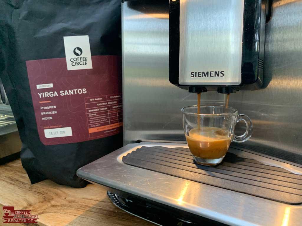 Yirga Santos aus dem Kaffeevollautomat